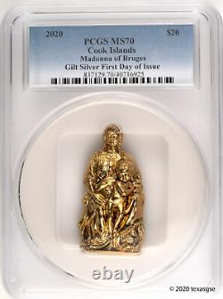 2020 Cook Islands $20 Madonna of Bruges 3oz Gilded Silver Coin PCGS MS70 FDI