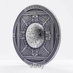 2020 Cook Islands 3 oz Dendera Zodiac High Relief Antique Finish Silver Coin