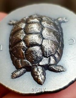 2020 Cook Islands $5 1 oz Silver Tortoise Ultra High Relief Antiqued Coin BU