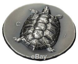 2020 Cook Islands $5 1 oz Silver Tortoise Ultra High Relief Antiqued Coin GEM BU