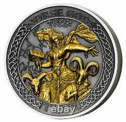 2020 Cook Islands Norse Gods Thor 2 oz Silver with Gold Plating Antiqued $1 Coin