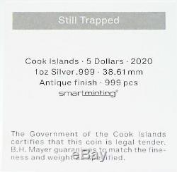 2020 Still Trapped 1 oz Silver 999 Coin Cook Islands $5 Antique Box ounce JJ212