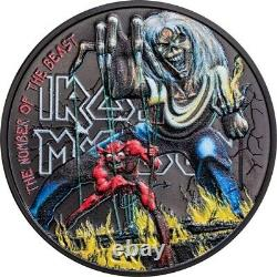 2021 1 Oz Silver $5 Cook Islands The Number Of The Beast IRON MAIDEN Coin