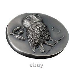 2021 1 oz Silver Athena's Owl Tetradrachm Numismatic Icons Coin Cook Islands