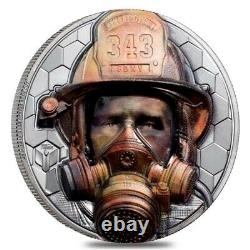2021 3 oz Proof Silver Real Heroes Firefighter Cook Islands Coin. 999 Fine
