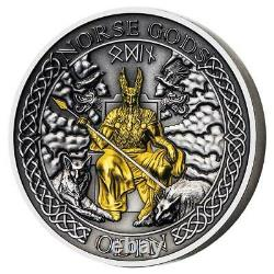 2021 Cook Islands 2 oz Norse Gods Odin High Relief Gold Plated Silver Coin