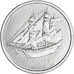 2021 Cook Islands Silver Bounty Sailing Ship 1/10 oz 10C BU 20 Coin Mint Tube