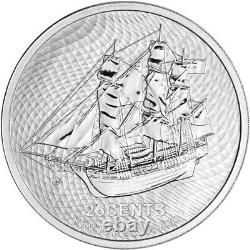 2021 Cook Islands Silver Bounty Sailing Ship 1/4 oz 25C BU 20 Coin Mint Tube