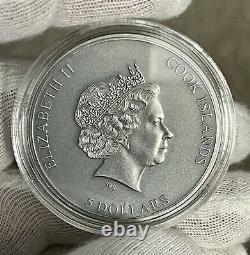 2021 Cook Islands Trap Attack 1 oz Silver Antiqued Coin High Relief