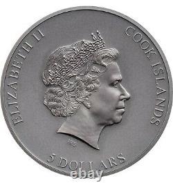 2021 Cook Islands Trapped Trap Attack 1oz Silver Antique Coin 999 Made Box & COA