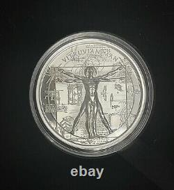 2021 Cook Islands Vitruvian Man X-Ray 1 oz Silver Proof Coin Ultra High Relief