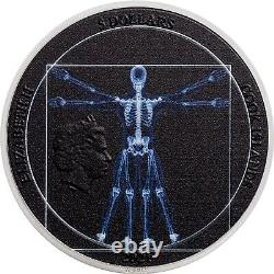 2021 Vitruvian Man X-Ray 1 oz Silver Ultra High Relief Coin $5 Cook Island JK969