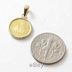 24K Gold 1/30oz Cook Islands $4 Micio Micia Cat Coin Pendant with10K Chain 17.75