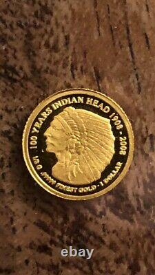 24ct Gold Cook Islands 100 Years Indian Head 1 Dollar Coin 1/2gram RARE