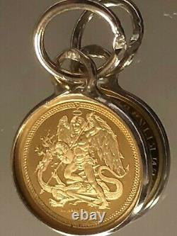 24ct Pure Solid Gold Pendant Angel and Dragon 750.9999 Gold