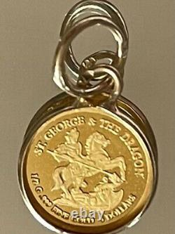 24ct Pure Solid Gold Pendant St George & The Dragon. 750.999 Gold