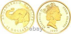 25 Dollar 1990 Gold 1/25 Unze Elefant Cook Islands 46804