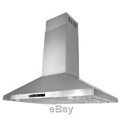 36 Stainless Steel Island Mount Range Hood Touch Screen Kitchen Cooking Fan