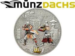 $ 5 Dollar History of the Samurai Cook Islands 1 oz fine silver with real Armour
