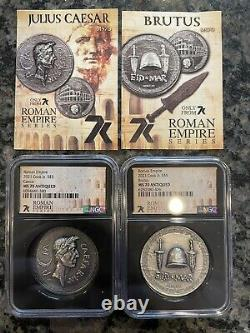 7K Exclusive Caesar & Brutus 1oz Silver coin MS70 Only 500 minted super rare
