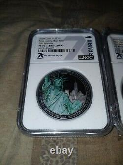 7K METALS Cooks island Miss liberty (2 coin lot) miles standish PF70 ULTRA CAMEO