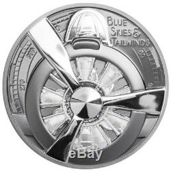 AIRPLANE PROPELLER BLUE SKIES 2020 Cook Islands 2oz proof silver coin