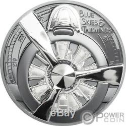 AIRPLANE PROPELLER Blue Skies 2 Oz Silver Coin 10$ Cook Islands 2020