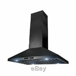 AKDY Kitchen Range Hood Cooking Fan 30 Island Mount Black Stainless Steel New