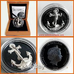 ANCHOR-Fair Winds 2 oz silver coin black proof Cook Islands 2019 in OGP