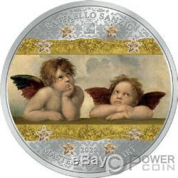 ANGELS SISTINE MADONNA Masterpieces Art 3 Oz Silver Coin 20$ Cook Islands 2020