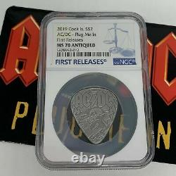 Ac/dc Guitar Plug Me In Pick 2019 Cook Islands $2 Silver Coin Ngc Ms70 Fr