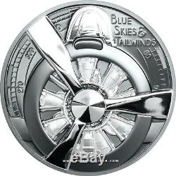 Airplane Propeller Blue Skies 2 oz High Relief Black Proof Silver Coin CI 2020