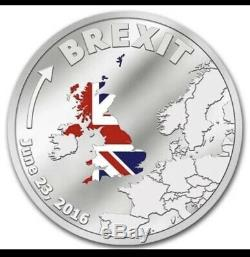 BREXIT COIN Münze Silver Proof June 23 2016 Cook Islands Silber Polierte Platte