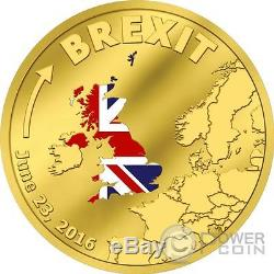 BREXIT United Kingdom Out Of European Union Gold Coin 20$ Cook Islands 2016