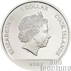 CHERRY BLOSSOMS GLOBE 1/10 oz Silver Coin in SNOWGLOBE 2017 Cook Islands $1