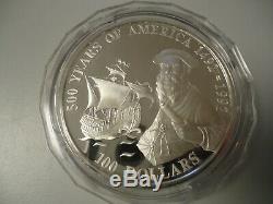 COOK ISLANDS 1990 100 Dollars in Silber (5 Unzen), PP SCHIFFE Magellan