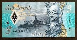 COOK ISLANDS 3 Dollars 2021 UNC NEW POLYMER REPLACEMENT BANKNOTE WITH PREFIX ZA
