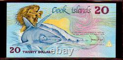 COOK ISLANDS P5a $20 1987 GREAT WHITE NOTE in PERFECT UNC CONDITION