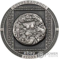 COYOLXAUHQUI STONE Antiqued Symbolism 3 Oz Silver Coin 20$ Cook Island 2021
