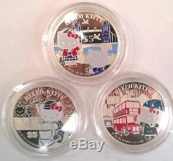 Cook 2009 Hello Kitty 5 Dollars Set of 3 Silver Coins, Proof