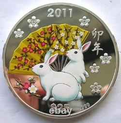 Cook 2011 Year of Rabbit 25 Dollars 5oz Silver Coin, Proof