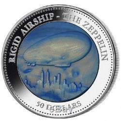 Cook Island 2013 50$ 175th anniversary of Zeppelin Mother of Pearl 5oz Silver