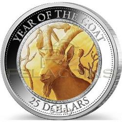 Cook Island 2015 25$ Year of the Goat Mother of Pearl 5oz Silver Coin