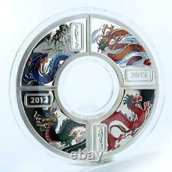 Cook Islands, 1 Dollar, Year of the Dragon, Set of 4 silver coins, Lunar 2012