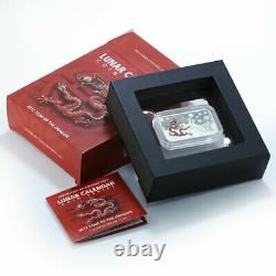 Cook Islands 1$ Year of the Dragon (Red) 1oz Silver Rectangle Coin 2012