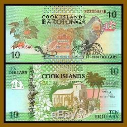 Cook Islands 10 Dollars, ND 1992 P-8 Replacement ZZZ Prefix Unc