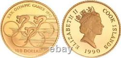 Cook Islands 100 Dollars Gold 1990 Olympiade 1992 PP in Kapsel