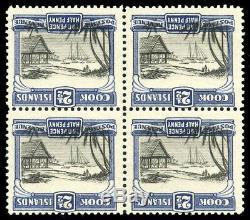 Cook Islands 1932 block of four showing CENTRE INVERTED superb MNH. SG 102 var