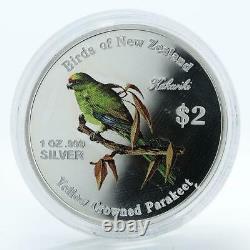 Cook Islands 2$ Kakariki Birds of New Zealand coloured proof silver coin 2005