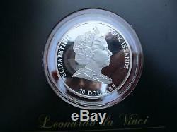 Cook Islands 20 Dollar 2009 Leonardo da Vinci Masterpieces of Art 999 Ex. RARE
